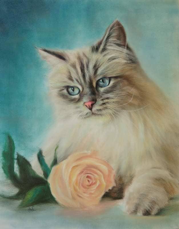 Blue-eyed Neva masquerade cat - the Queen of cattery IZ TVERSKOGO KNYAZHESTVA on beautiful painting
